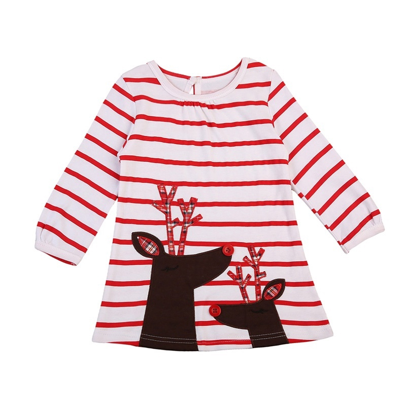 5c1c05a9dcb72 MM3-2017 Baby Girl Long Sleeve Christmas Deer Casual Little Girls' Dresses  One