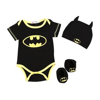 c2b329c92 💕Pentagon 3Pcs baby clothes Batman romper + hat + foot cover three ...