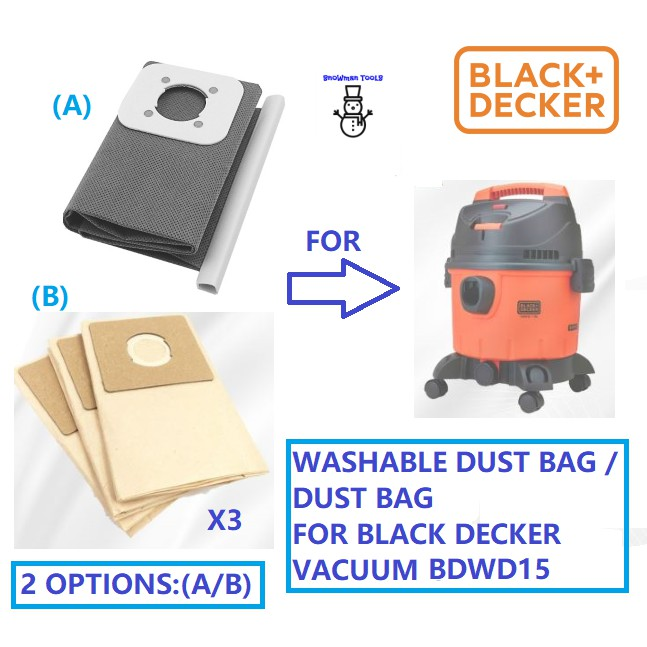 SPARE PART FOR BLACK DECKER BDWD15 WET AND DRY VACUUM CLEANER WASHABLE DUST BAG 5170033-51 PAPER DUST BAGS PB152025