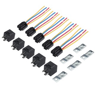 5sets DC 12V Car SPDT Automotive Relay 4 Pin 4 Wires w/Harness Socket on