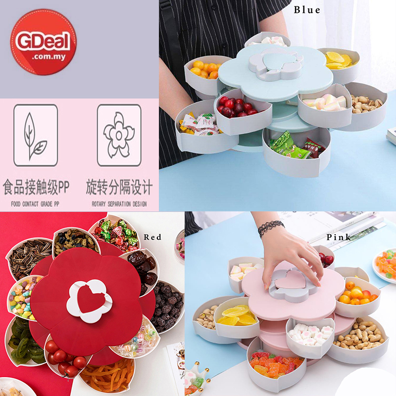 GDeal Double Rotating Fruit Candy Plate Box Biscuit Nuts Container Storage Box Bekas Kuih