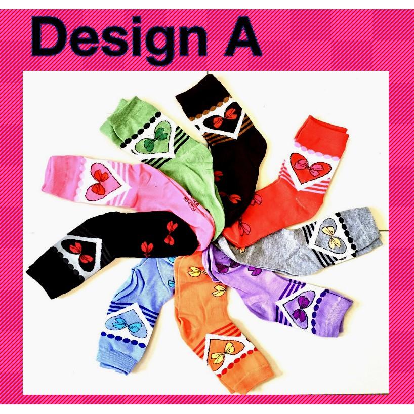 Stylish Women Girl Long Cotton Socks Creative Heart Design