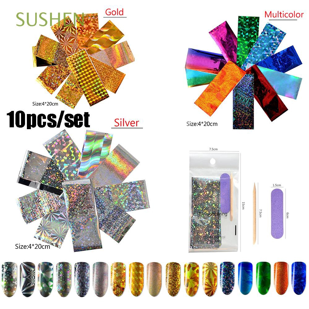 Transparent ab color transfer 3d adhesive nail art stickers