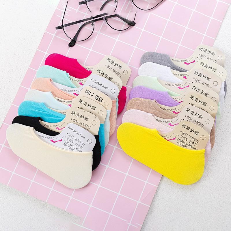 🌈Ka Fu🌈สต็อก Random Color ผู้หญิง ถุงเท้า ผ้าฝ้าย ซิลิโคน ป้องกันการลื่นไถล มองไม่เห็น ถุงเท้าข้