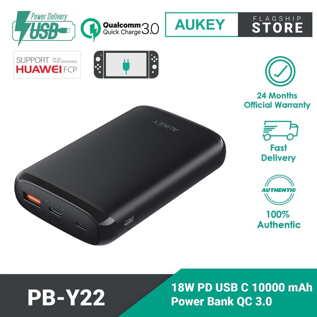 AUKEY PB-Y22 18W Power Delivery USB C Power Bank with Quick Charge 3.0 (10000mAh)