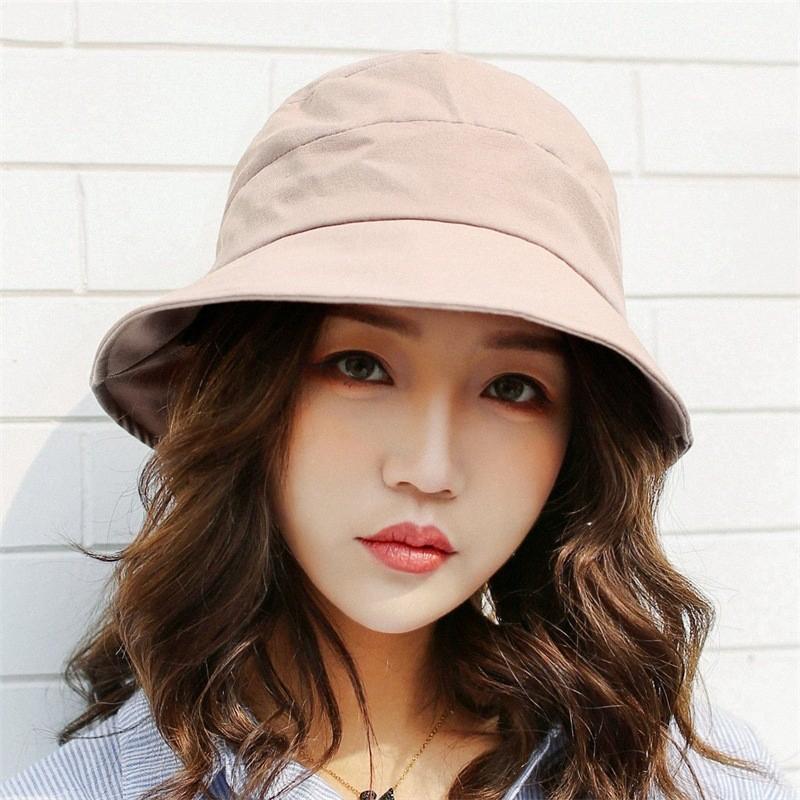 17bcaaa0f7eae Summer Bucket Hats Women Solid Cotton Fishing Hat Fashion Bow-knot  Fisherman Hat