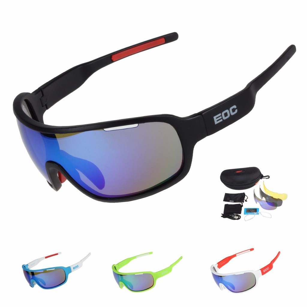 100/%UV Polarized Changeable Sunglasses Blue plastic frame unisex adult-cycling
