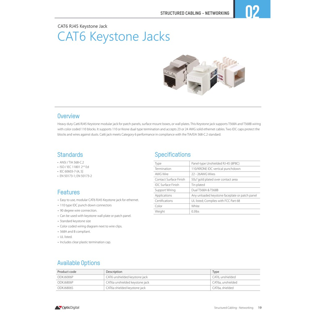 cat6 keystone jack punch down 1pc/pack