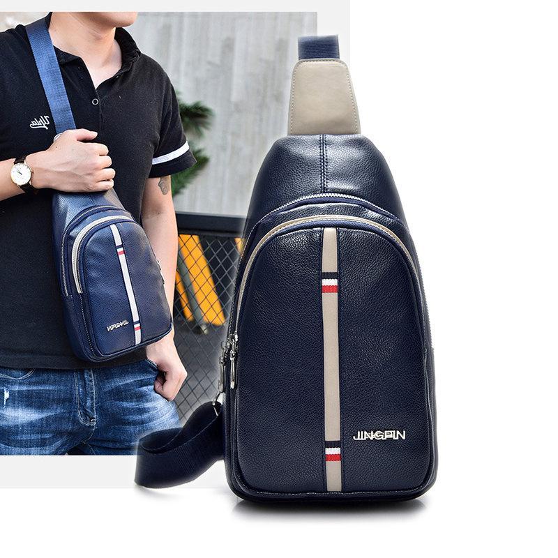 312b1b9ef22b Men'S Chest Bag Korean Sports Ride Pu Leather Bag Outdoor Shoulder ...