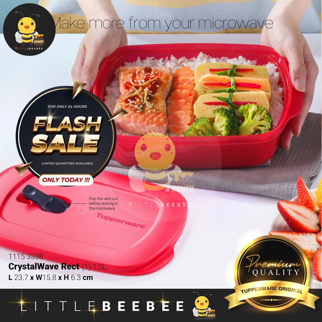 Tupperware CrystalWave Rect (Lunch Box) / Reheatable Divided (Lunch Box) - 1.0L
