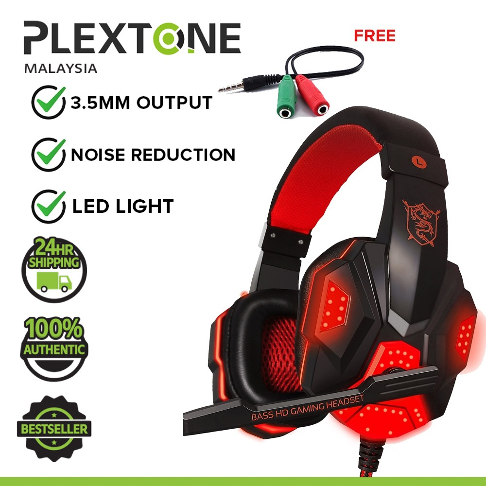PLEXTONE PC780 Double Bass Gaming Headphones Headsets with HD Mic + LED Light Noise Cancelling Headphone for PC Laptop