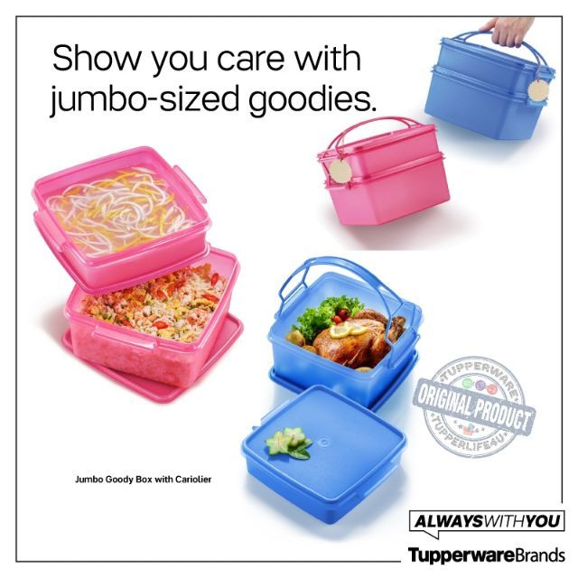 💥Ready Stock💥Tupperware Jumbo Goody Box with Cariolier - Pink Set Or Blue Set
