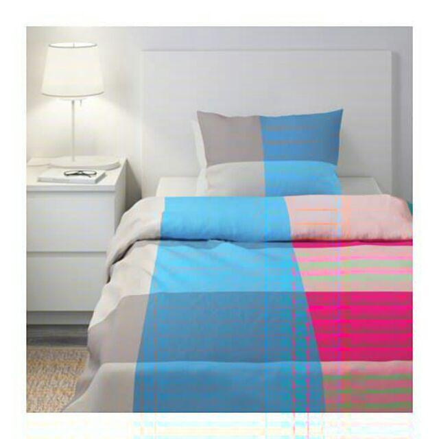 Ikea BRUNKRISSLA Full//Queen Duvet Cover /& w//2 Pillowcases Bed Set Blue Pink Gray