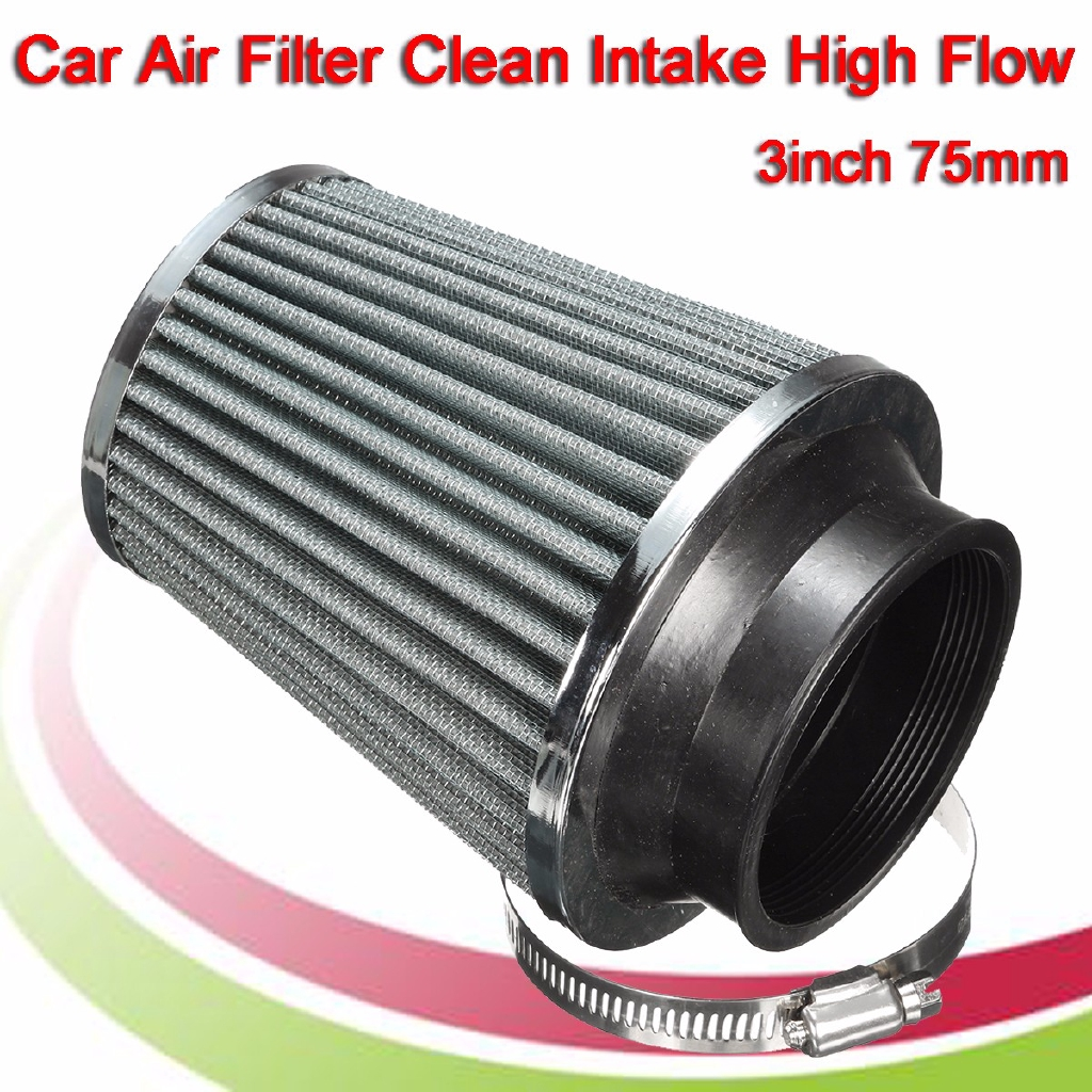 """4/""""Universal Chrome Inlet Short Ram Cold Intake Round Cone Air Filter RED KN Type"""