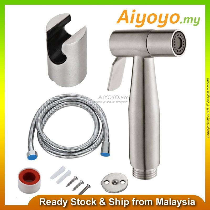 304 Stainless Steel Bidet Spray with Holder Shower Hose Handheld Sprayer Bathroom Toilet Bath Lavatory Bathtub Wash Basi