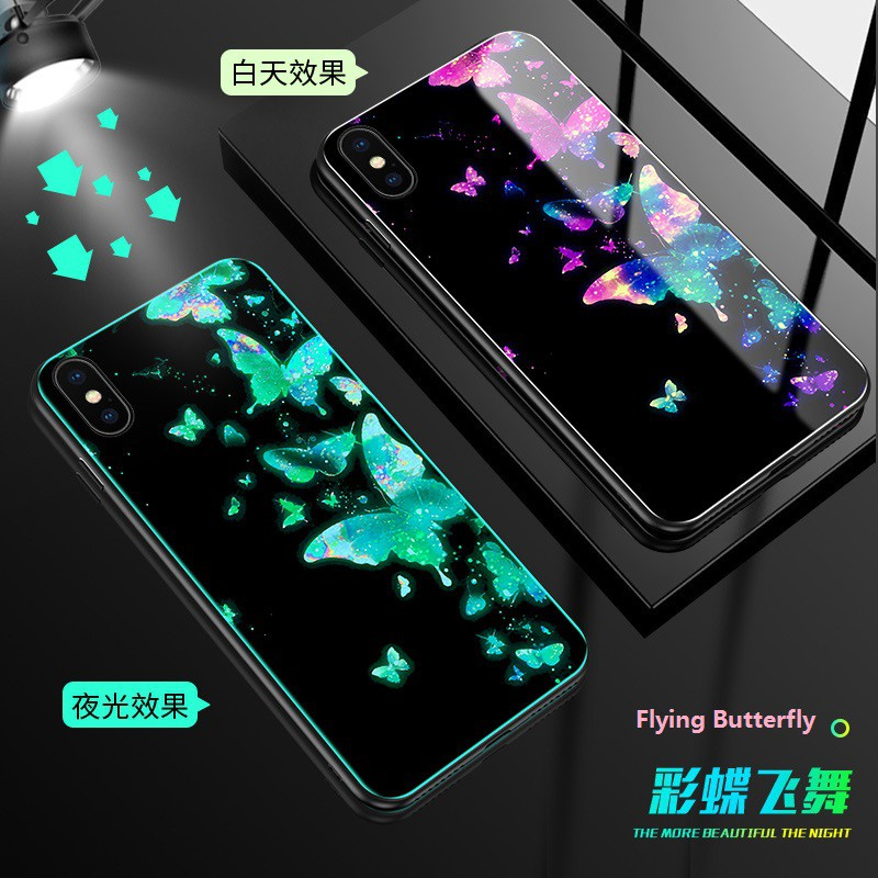 OPPO A3s F1S F3 Plus F5 F7 F9 F9 Pro Glass Silicone Phone Case Glow in the  Dark