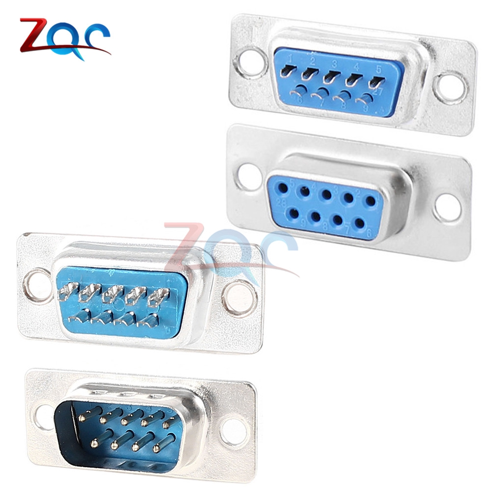 4pcs 2 Row DB9 D-Sub 9pin Female Chassis Solder Serial Port Connector for PC Use