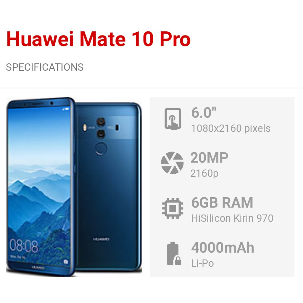 Huawei mate10 pro demo 1 year warranty