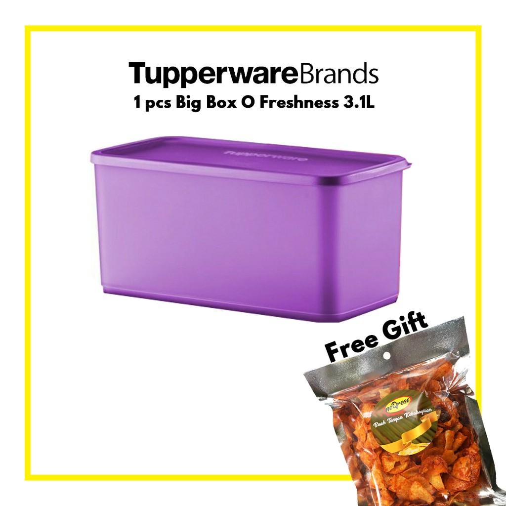 1x Tupperware Brand Big Box Freshness Purple or Orange Colour Container Bekas Bertutup Besar Pilihan Neqrose, 3.1L