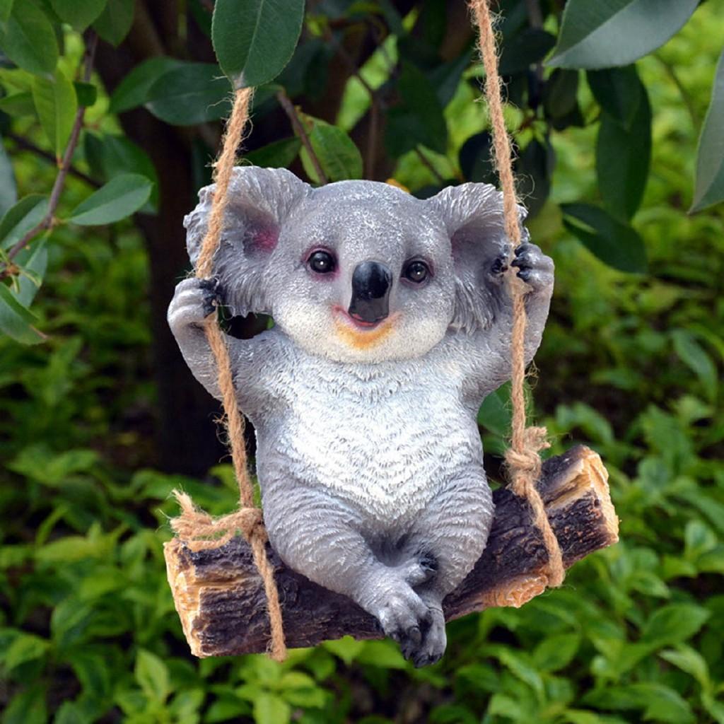Garden Statues & Lawn Ornaments garden feature Garden Decorative Swinging Koala Statue Fairy Home Tree House Ornament Craft