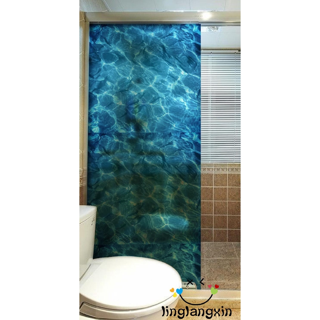 Blue Water Ripples Frosted Cling Screen Translucent Window Glass Film Sticker for Bathroom Living Room 60cm x 58cm
