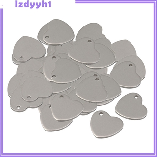 50 Pieces Metal Flat Heart Love Blank Coin Engraving Stamping Charms Tag Pendant Necklace Bracelet Pendants for Jewelry Making 14mm