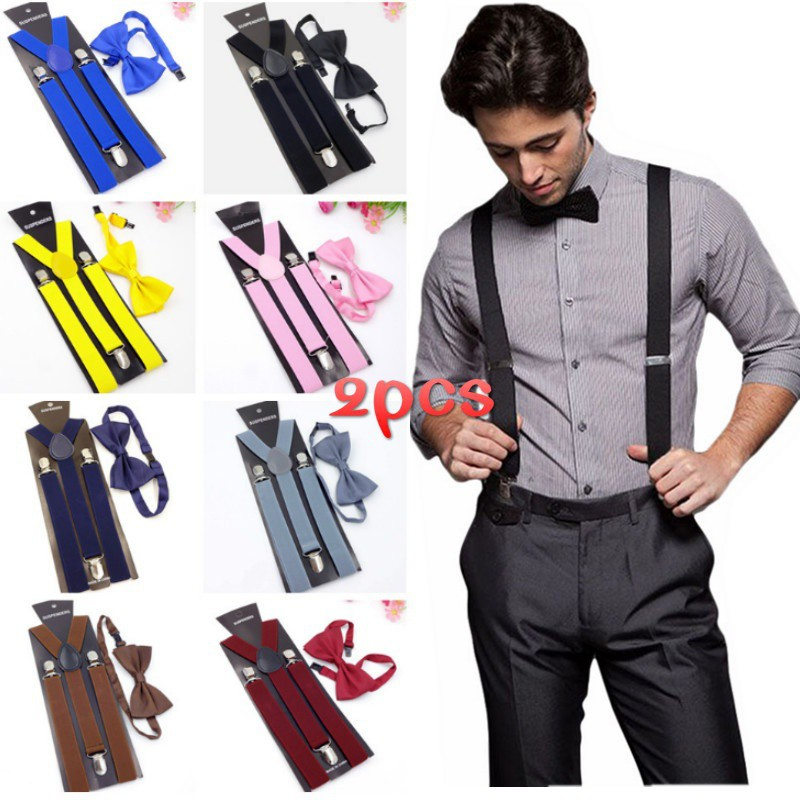 "Clip-on Wide 1.5/"" Suspenders Elastic Y-Shape Adjustable Braces"