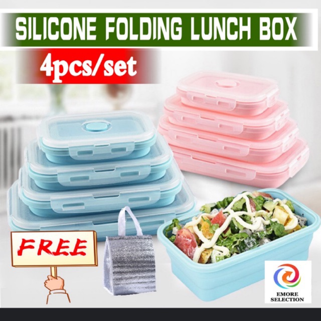 [READY STOCK]4 PCS FOLDABLE COLLAPSIBLE LUNCH BOX FOOD CONTAINER FOOD STORAGE BOX