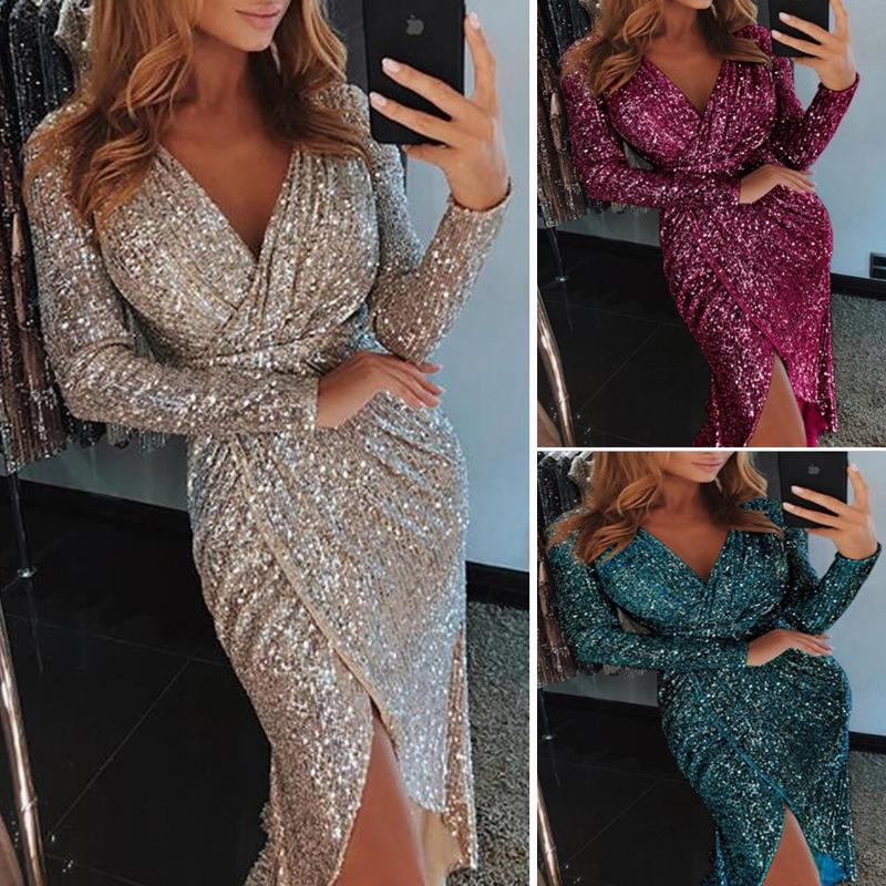 2de5306afa83f Women Long Sleeve V-neck Slim Sequin Bodycon Slit Dress For Party Club TONG