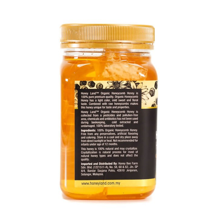 Honey Land™ – Organic Honeycomb Honey (500g) 100% Madu Asli