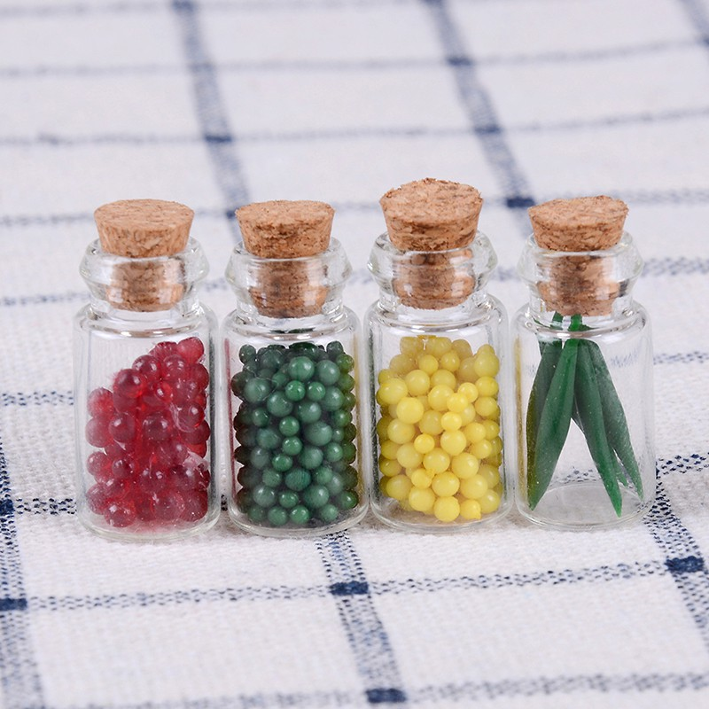 4 Dollhouse Miniature Fruit Jam Bottles Kitchen Food Flavor Jar Shop Decor 1:12