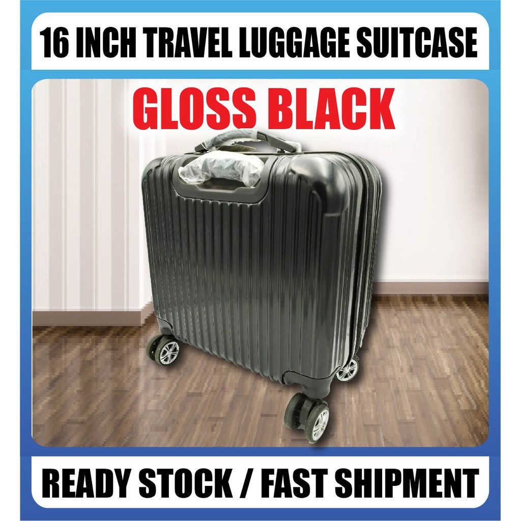 [READY STOCK] Advanced 16-inch Travel Luggage Suitcase Silent Wheel 360 Rotation Smooth Matte Black