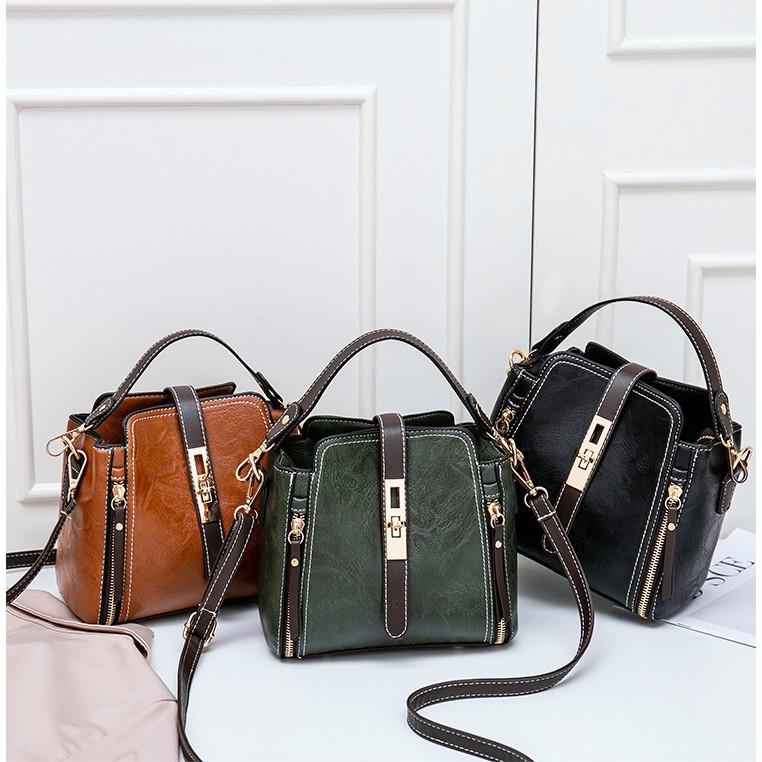 cae0f3686852 Leisurely Leather Women Bucket Bag Korean Style Handbag Women Sling Bags