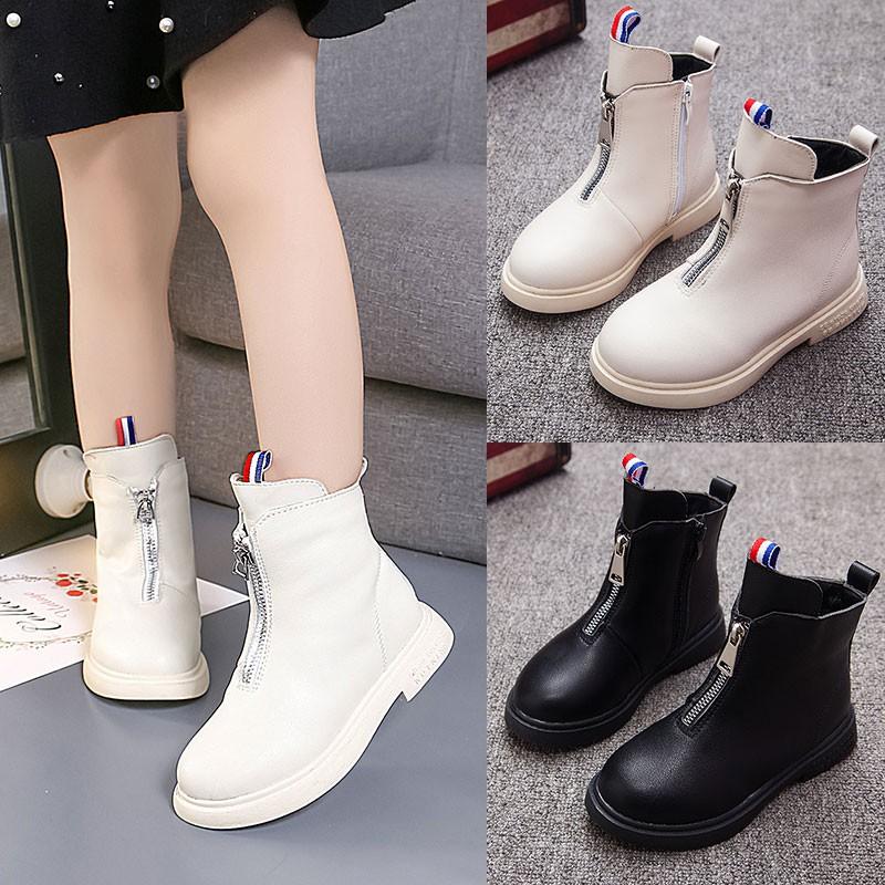 Kids Boys Girls Winter Snow Warm Ankle Boots Zipper Child Chelsea Shoes 2-7T