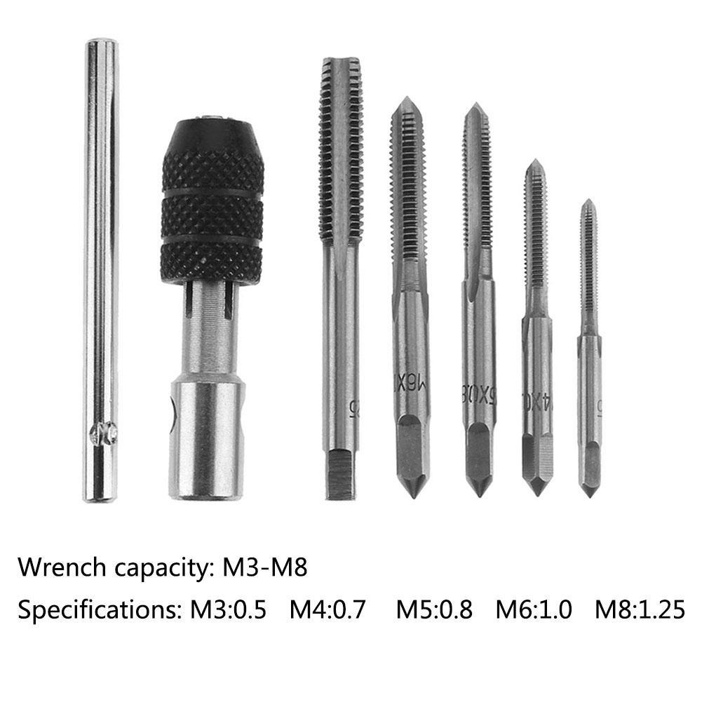 7pcs M3 M4 M5 M6 M8 M10 M12 HSS Machine Thread Metric Plug Tap Drill Bits JF#E
