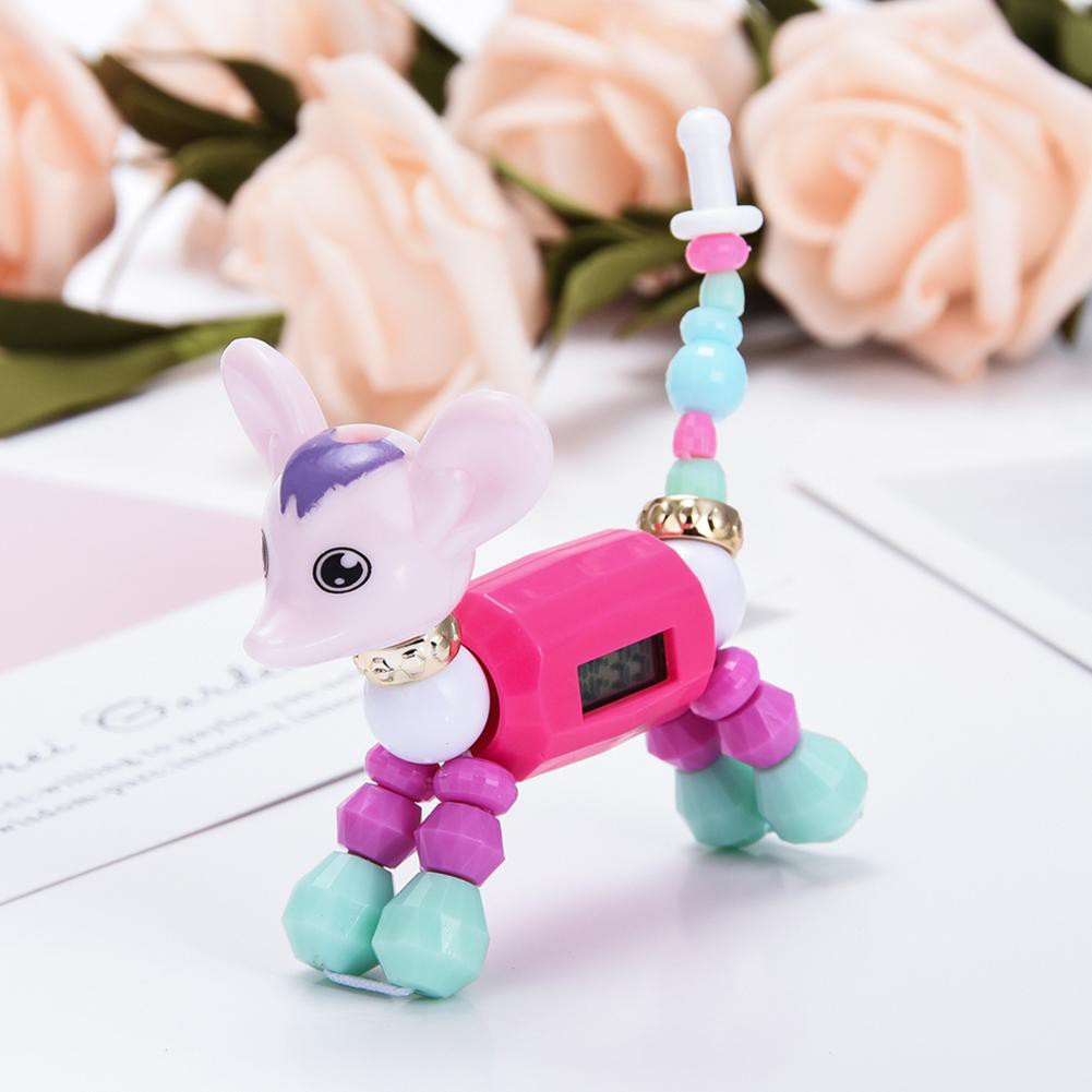Cute Digital Bracelet Watch Kids Animal Beads Electronic Watches Puzzle Toy