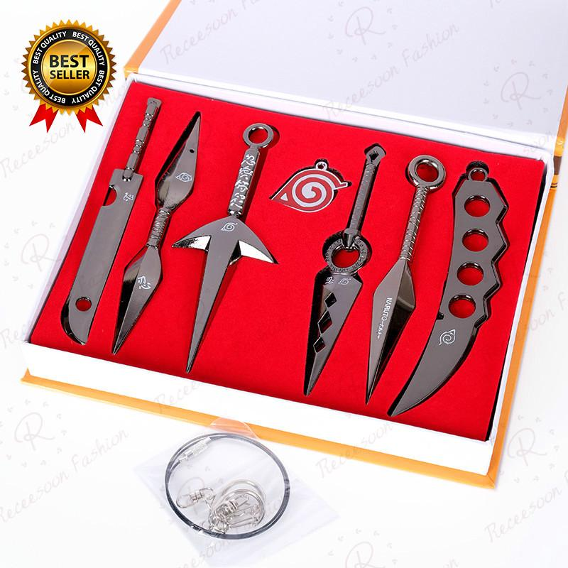 7pcs Anime Naruto Pendant Keychain Set Weapons Model Toy