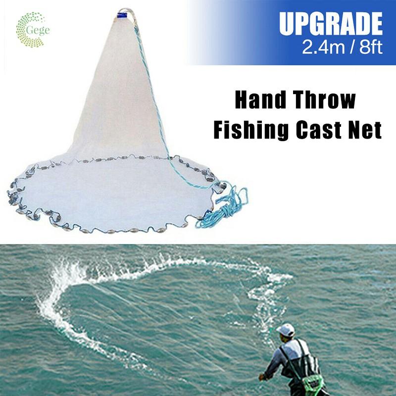 10ft Hand Throw Fishing Cast Net Spin Bait Sinker Small Mesh Equipment Diameter