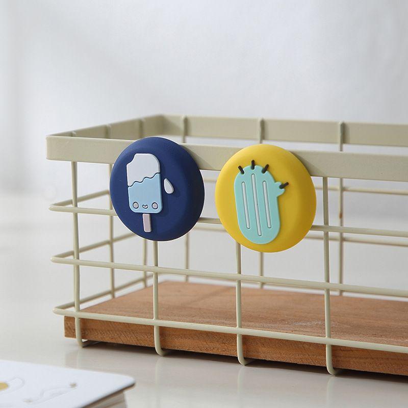 【Ready stock】创意磁铁冰箱贴卡通可爱圆形立体动物硅胶吸铁石装饰磁贴T