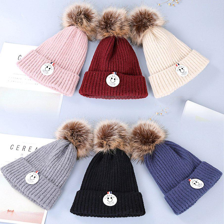 a55f0e467 Baby Winter Warm Knit Hat Infant Toddler Kid Crochet Hairball Beanie ...