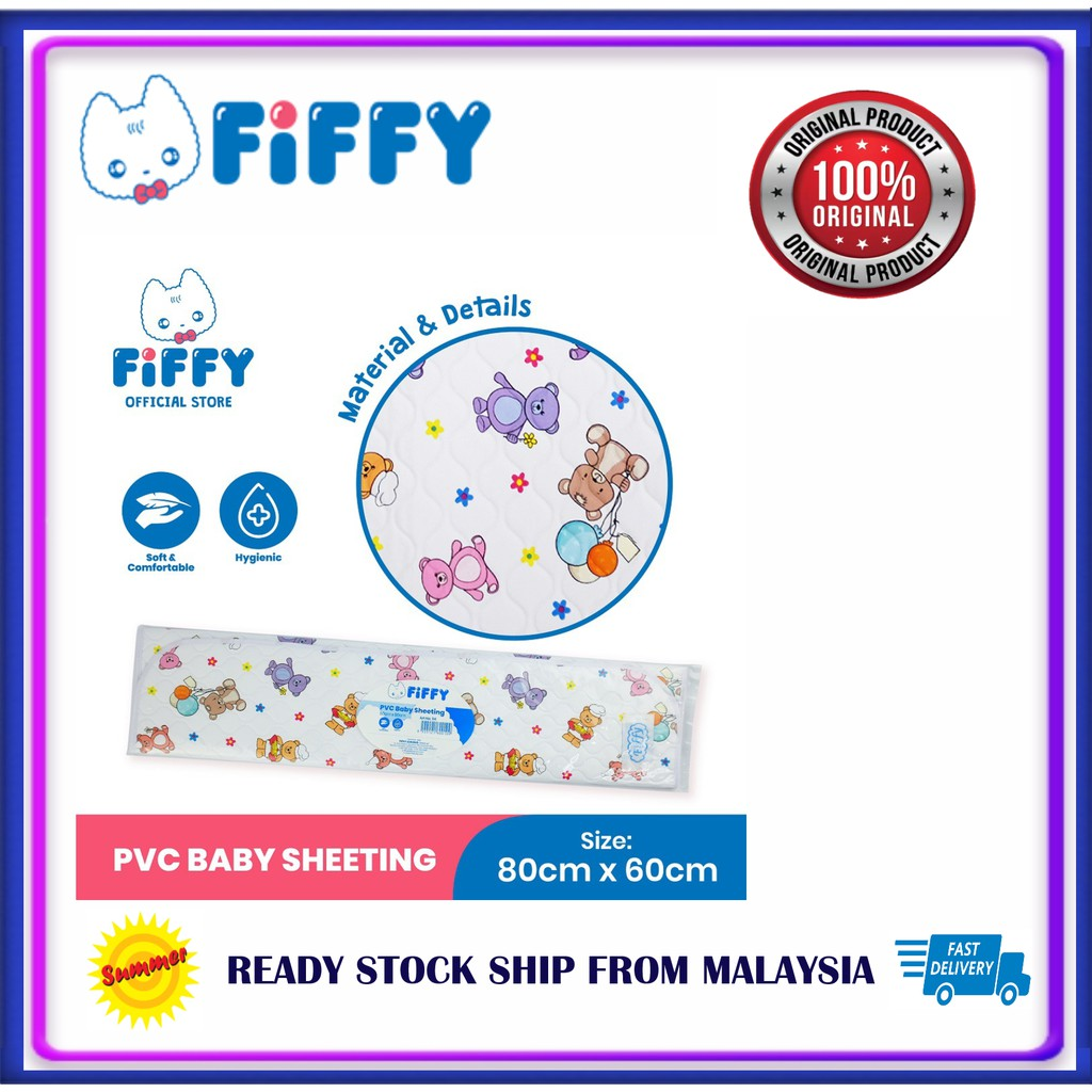 Fiffy PVC Cot Sheet - White/Pink/Blue Original Fiffy PVC Cot Sheet Changing Mat + Few Colors Choice