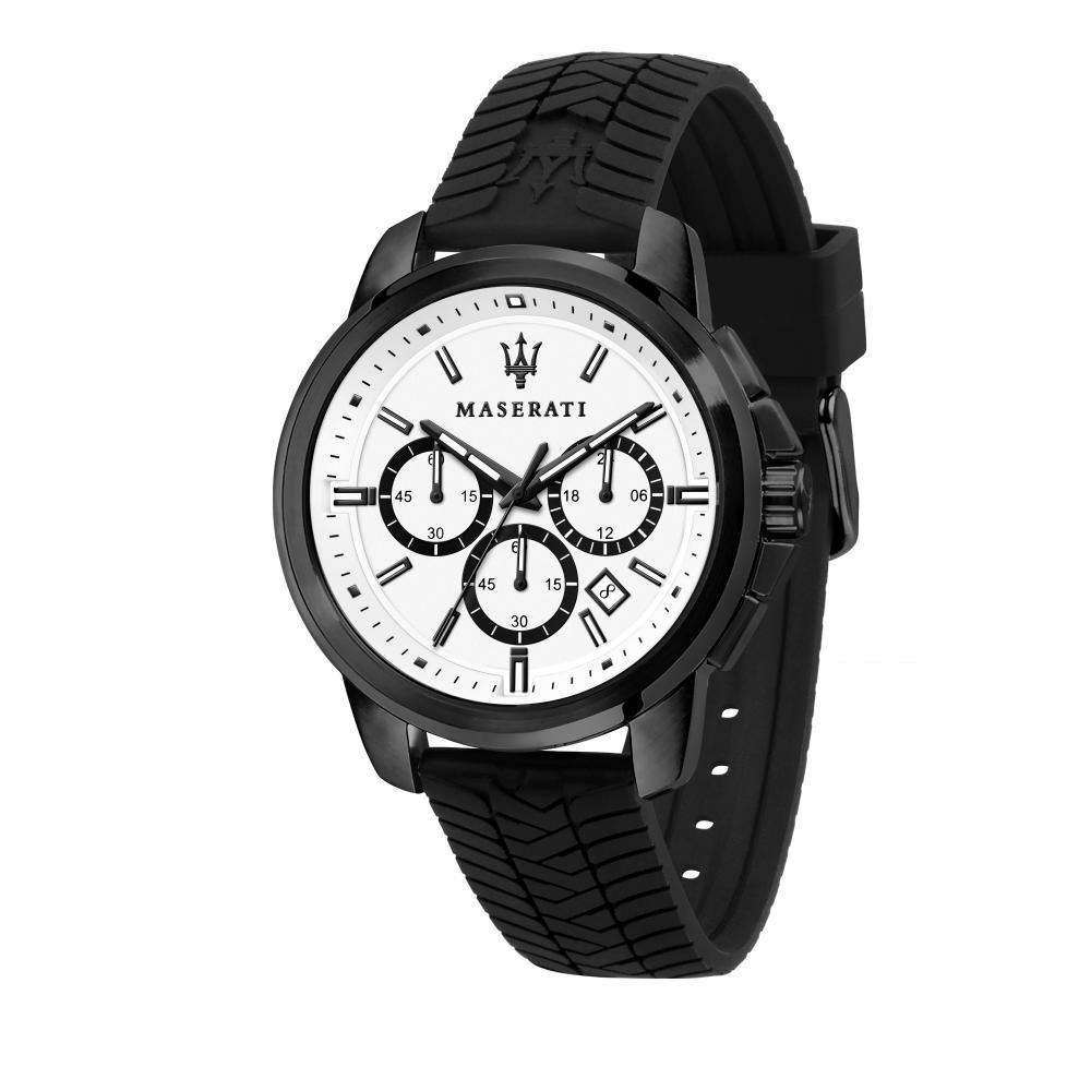 Maserati Successo Black Silicon Band Watches Quartz Chronograph R8871621010