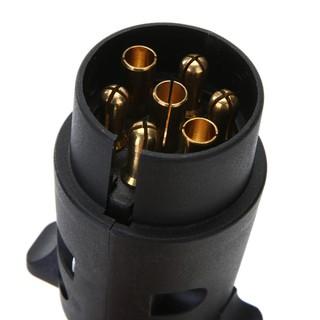 12V 7-Way Black Round Plastic RV Trailer Plug Connector Plug