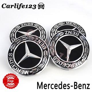 Mercedes Wheel Centre Caps BLUE 75mm Alloy Hub Badge AMG A B C E M All Class x 4