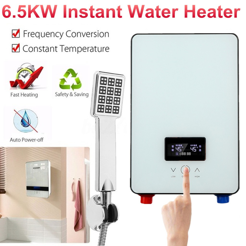 6500W 220V Electric Tankless Instant Water Heater Temperature Bathroom Kitchen