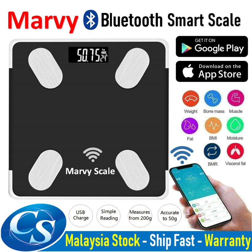 Marvy Bluetooth Scales Body Weight Bathroom Scale Smart Backlight Display Rechargeable Body Weight Water Muscle Mass BMI