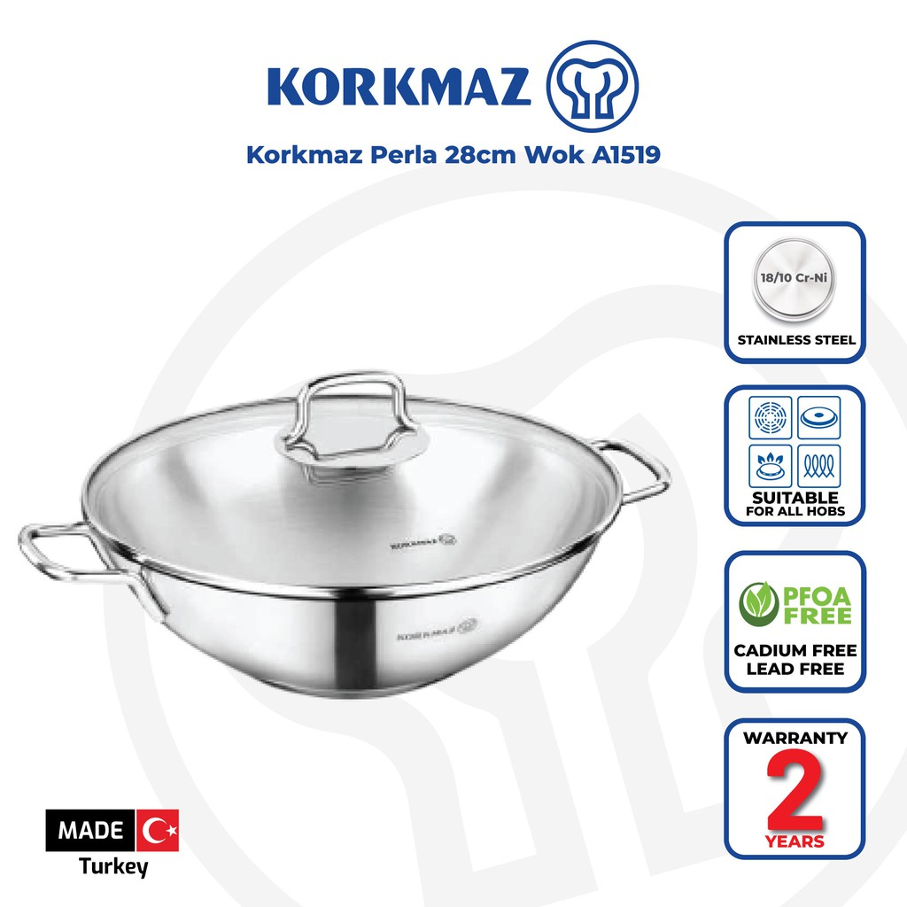 Korkmaz Perla Stainless Steel Stir-Fry Pan / Wok with Helper Handle and Glass Cover (28 x 8.5cm) A1519