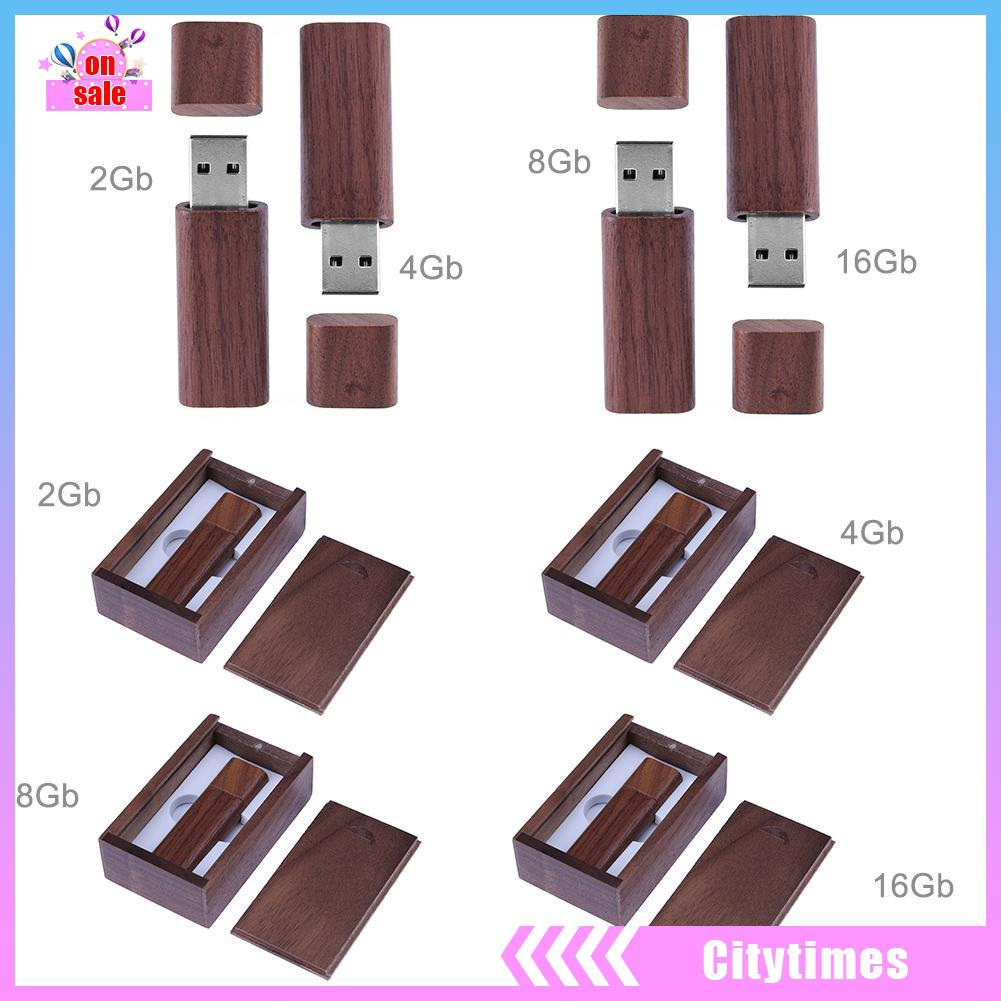 [city]Natural Walnut Case USB2.0 Port Flash Memory Disk with Wooden Package Box