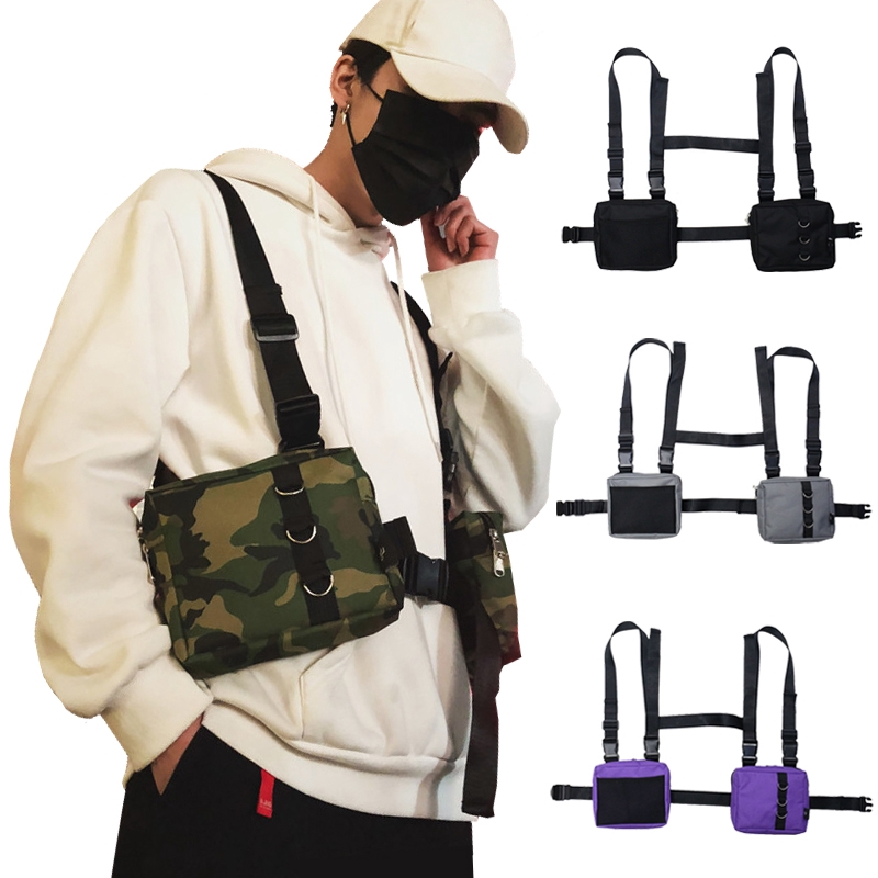 Men Women Street Wear Vest Tactical Fanny Pack Chest Bag Backpack Shoulder Bag