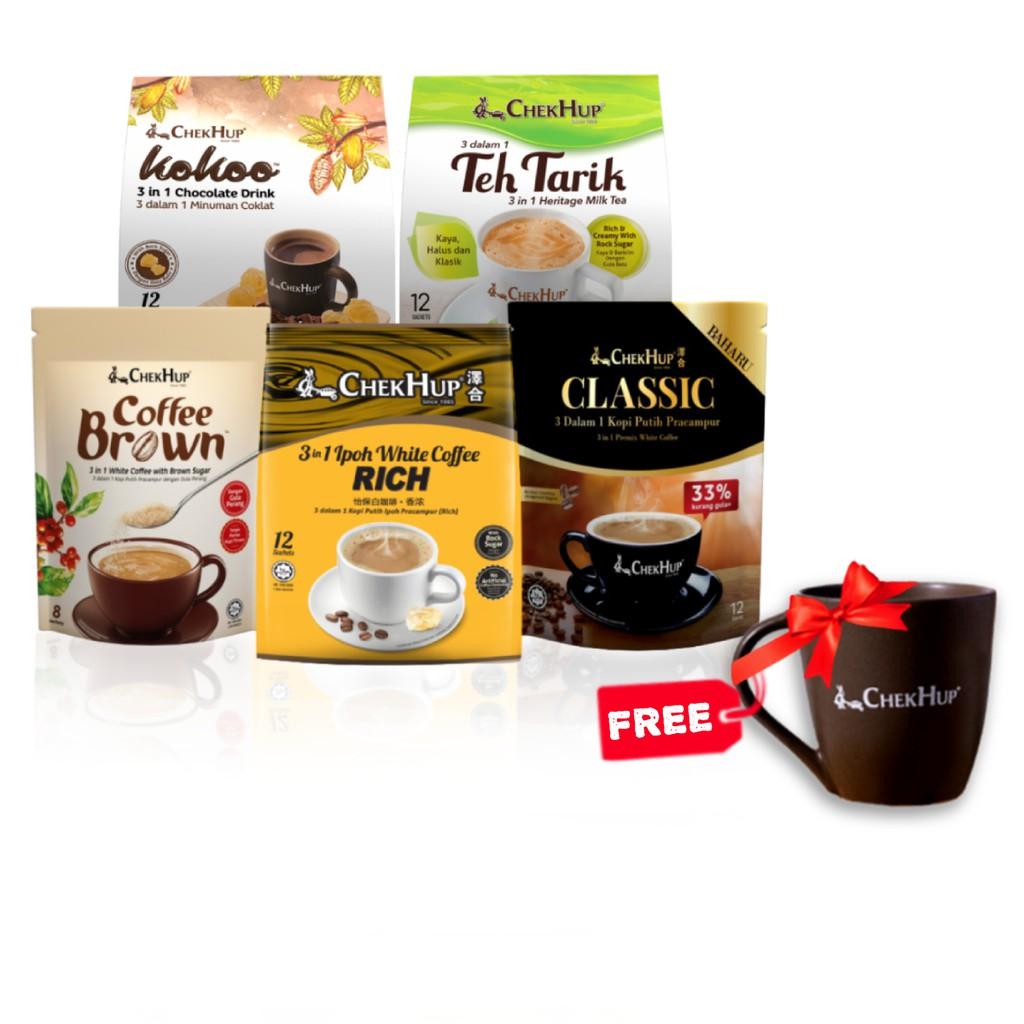 FREE Mug Chek Hup Starter Bundle 1 (Rich + Classic + Kokoo Original + Teh Tarik Rich & Creamy + Coffee Brown)